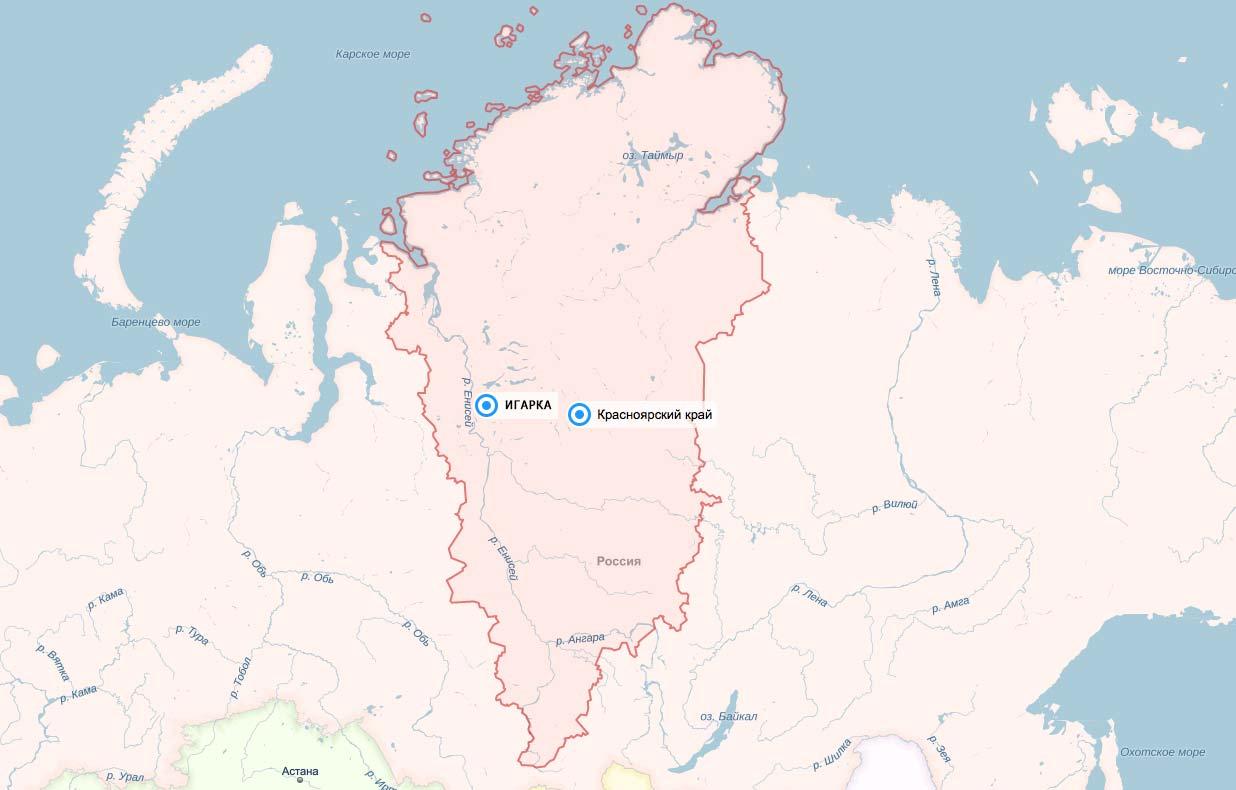 Игарка на карте Красноярского края