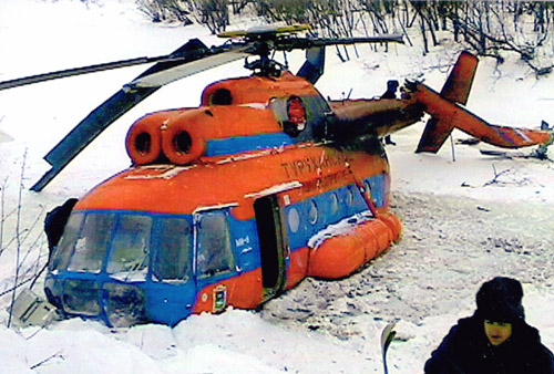 Упавший МИ-8 в Туруханском районе.