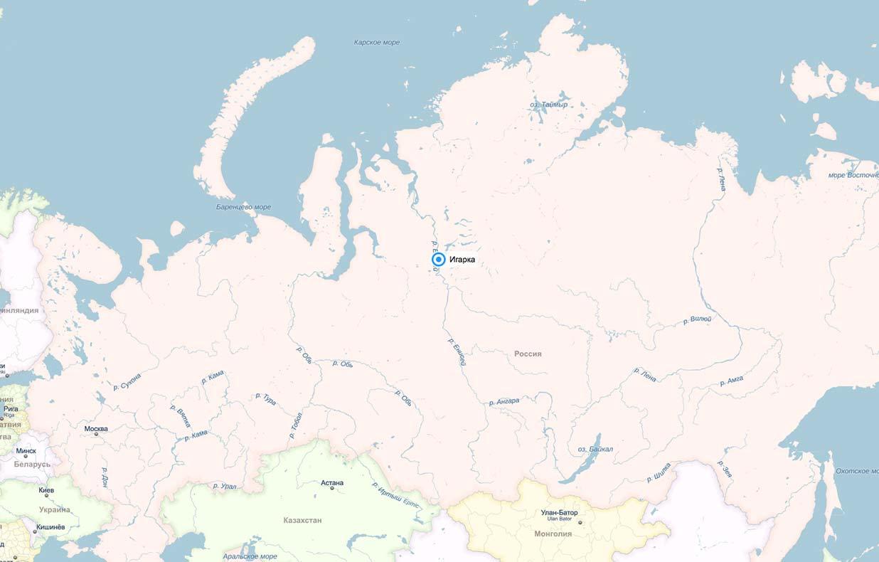 Игарка на карте России