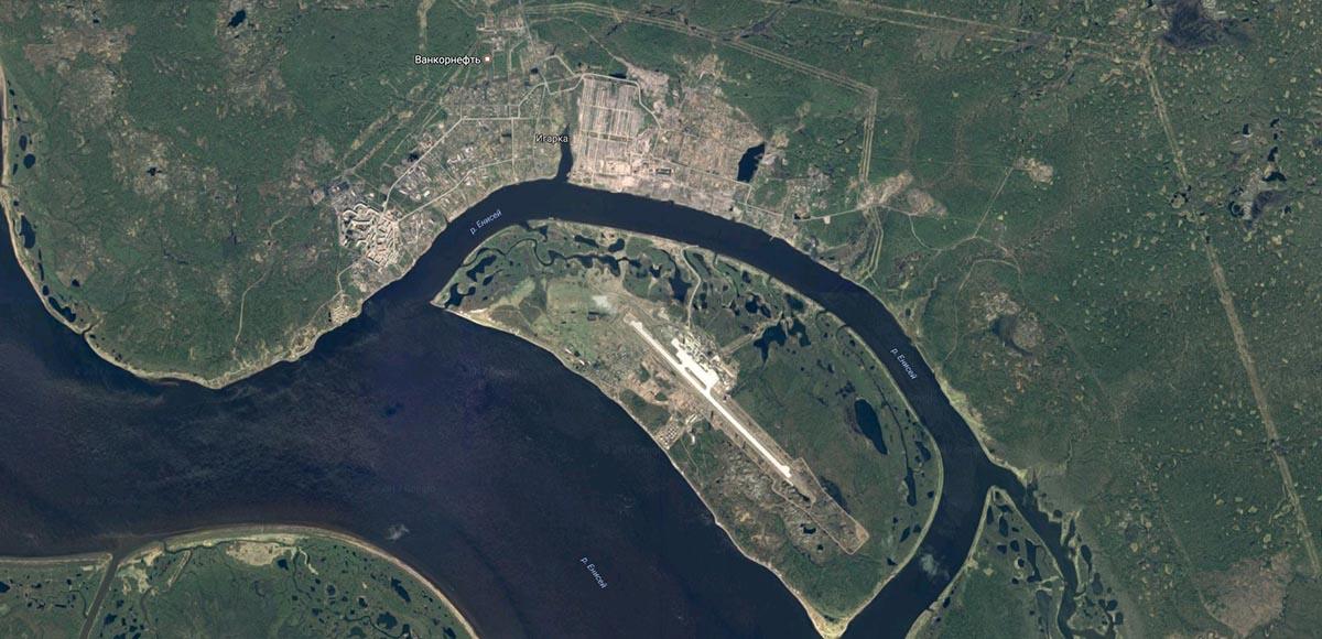 Карта Игарки со спутника.
